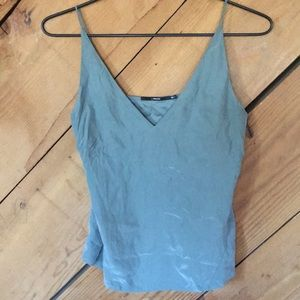 J Brand grey/green silk blouse